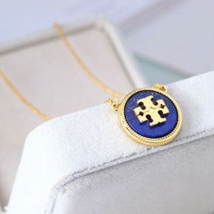 Tory Burch Enameled Blue on Gold Logo Necklace